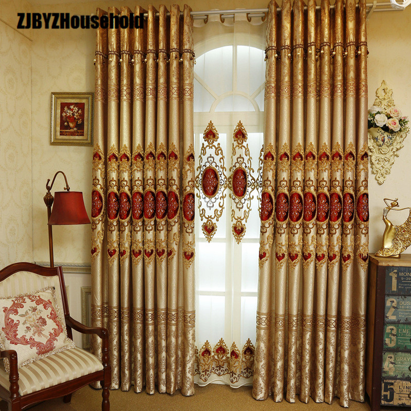 Modern minimalist European style luxury embroidered curtain living room bedroom jacquard shade curtain finished cloth 50