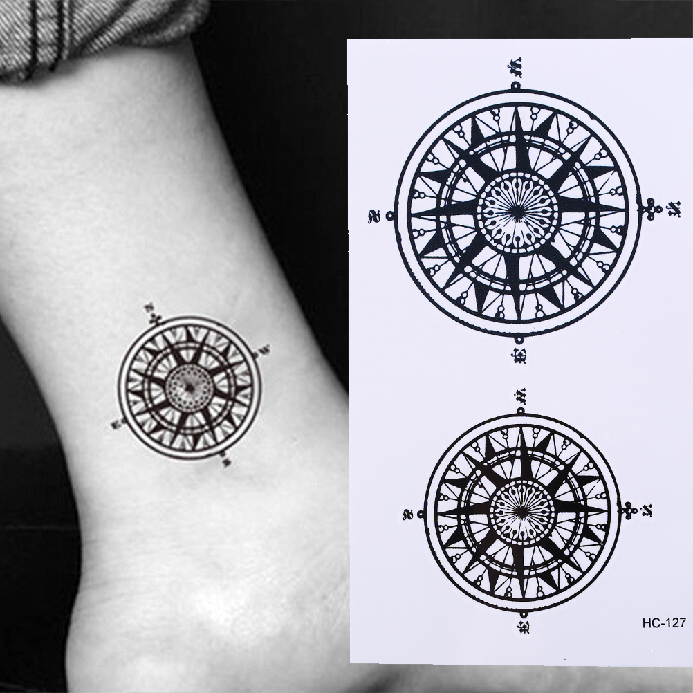 Black Butler Contract Symbol Compass Tatto Stickers Flash Tatoo Fake Tattoos For Men Women Waterproof Temporary Tattoo Sticker