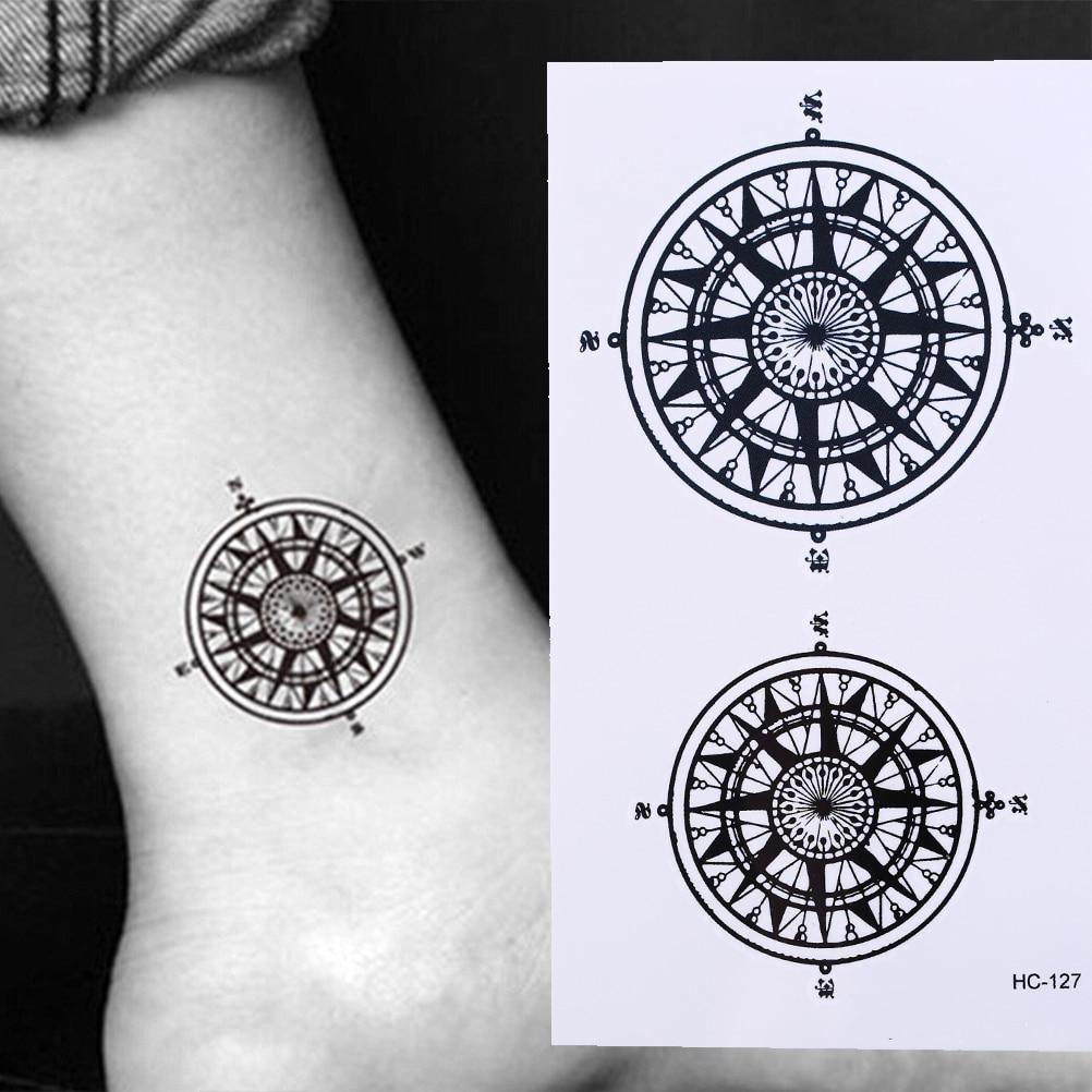 Black Butler Contract Symbol Compass Tatto Stickers Flash Tatoo Fake Tattoos For Men Women Waterproof Temporary Tattoo Sticker