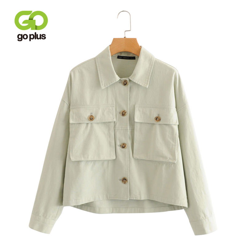 GOPLUS   Basic     Jacket   Women Spring Autumn Turn Down Collar Coats and   Jackets   Plus Size Single Breasted Coat Feminina Outwear C8980