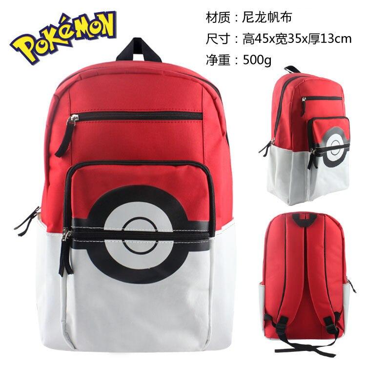Anime Pokemon Pikachu Backpack Poke Ball Cosplay School Shoulder Bag Children Plush Backpack Shrink-Proof Costume Props