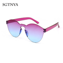 Fashion sunglasses frameless conjoined transparent gradient color personality glasses
