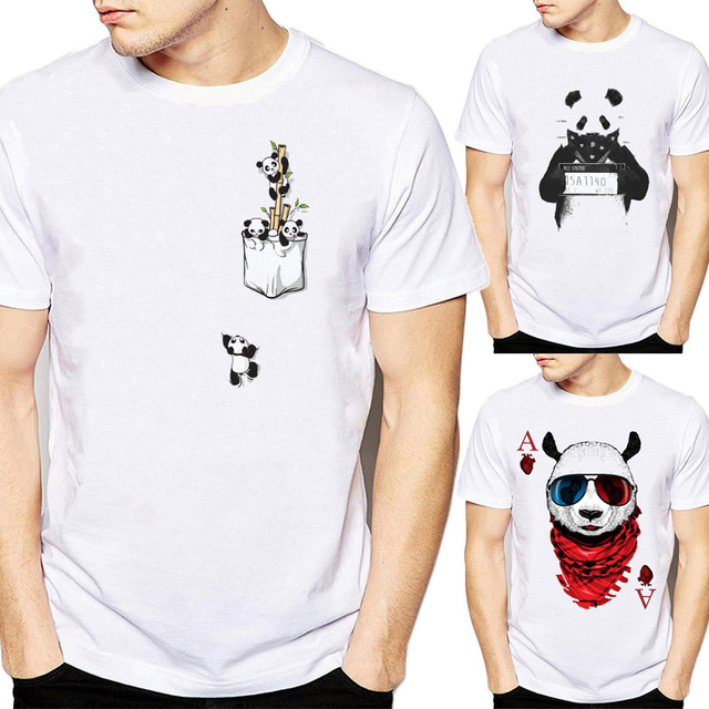 a72bd7bc9d1a Cute Panda T Shirt for Men 3d Funny Fake Pocket Tops Summer Cartoon Animal  Design T-shirt White Casual Male Tees Plus Size Homme