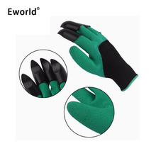 Eworld Universal Breathable One Color Garden Household Gloves Waterproof Non Slip Beach Protective Gloves With Claws