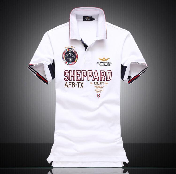 Men's Brand Polo Shirt Air Force One Men Short Sleeve Polo Aeronautica Militare Polo Shirt For Men White Embroidery Polo Ralph