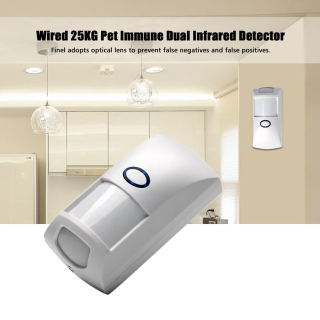 Mini Portable Wired 25KG Pet Immune Dual Infrared PIR Motion Detector Sensor intelligent volume recognition for Home Security