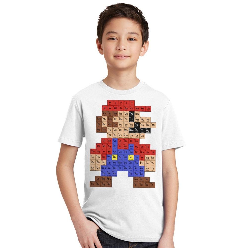 2017 Boys Girls Fashion T shirt Hipster Printed Tee Shirts Children Short Sleeve Tops Kids Super Mario periodic table T-Shirt