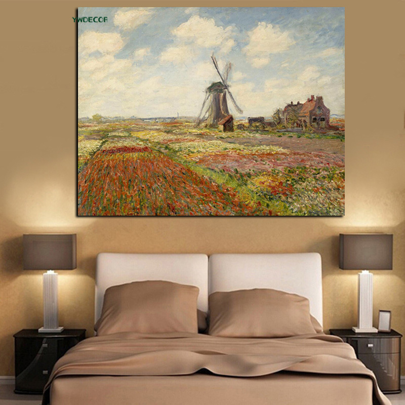 YWDECOR Print Tulip Fields With The Windmill Claude Monet Oil Painting on Canvas Art Impressionist Wall Picture  for Living Room (2)