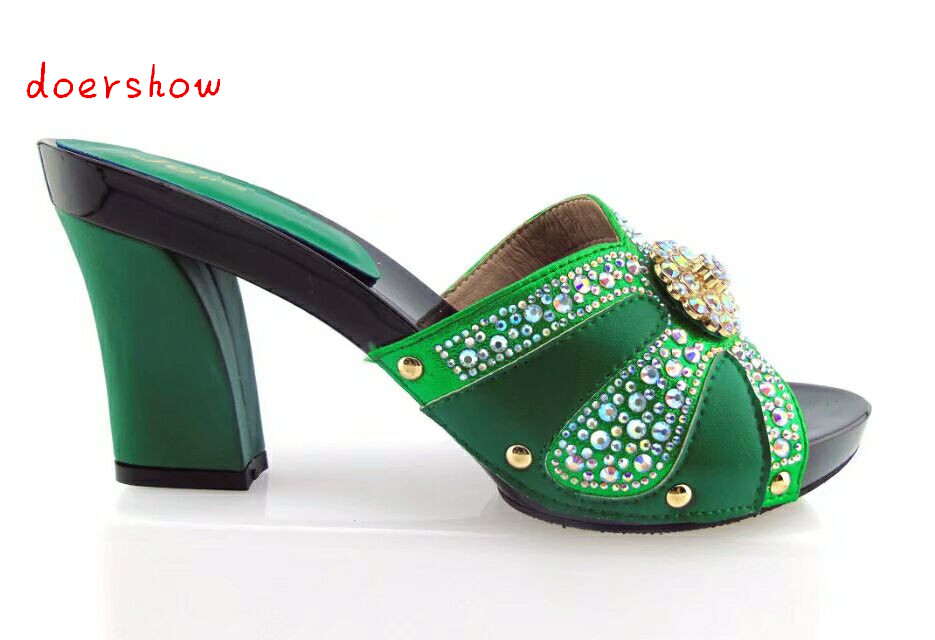 doershow Good Selling African Sandal Shoes Crystal High Heels Woman Pumps For Party Wholesale Woman's Shoes Online!HTX1-11 doershow african shoes and bags fashion italian matching shoes and bag set nigerian high heels for wedding dress puw1 19