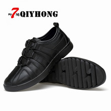QIYHONG Brand Hot New MenS Casual Shoes Autumn Winter Lace-Up Krasovki Men Brown Black Luxury Gum
