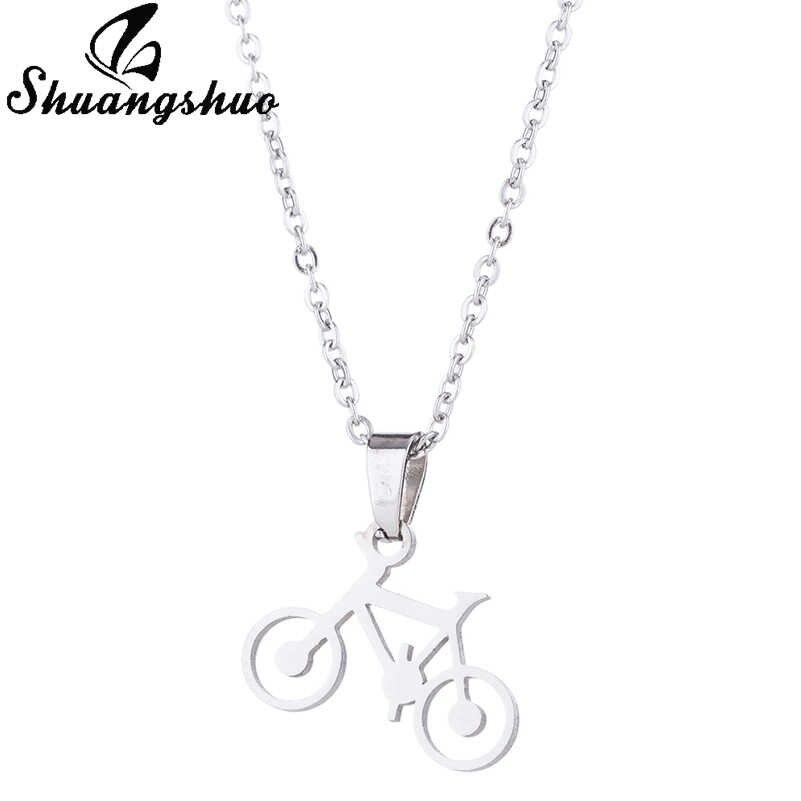 Shuangshuo เงินจักรยานจี้สร้อยคอสตั๊ดต่างหูเครื่องประดับชุดผู้หญิงสแตนเลสยาว Choker ต่างหูชุด