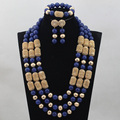 Luxury Blue Natural Stone Beads Wedding Jewelry Set 24inches Coral Indian Bridal Necklace Set  Gold Plated WD895