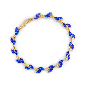 MISANANRYNE 1pc Gold blue Crystal Leaf chain Bracelet bangle For Women 2017 Fashion design Fashion Mujer Jewelry