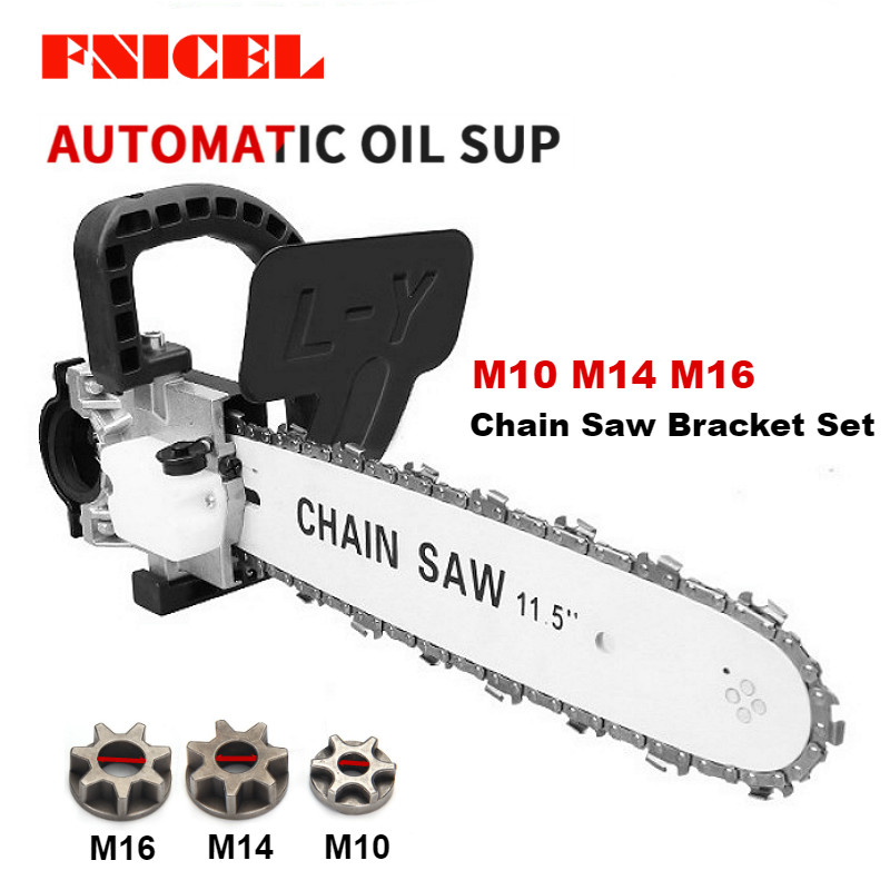 FNICEL 11.5 Inch M10/M14/M16 Chainsaw Bracket Changed Upgrade Electric Saw Parts 100 125 150 Angle Grinder Into Chain Saw-in Electric Saws from Tools on