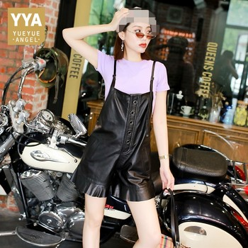 2020 New Winter Womens Genuine Leather Suspender Pants Fashion Ruffles Short Overalls Female Slim Fit Single Breasted Playsuits