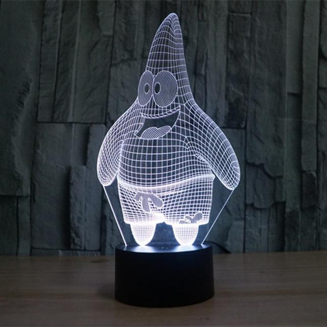 Nacht Licht Patrick Star 3D Wirkung Bunte Schlafzimmer Lampe Led ...