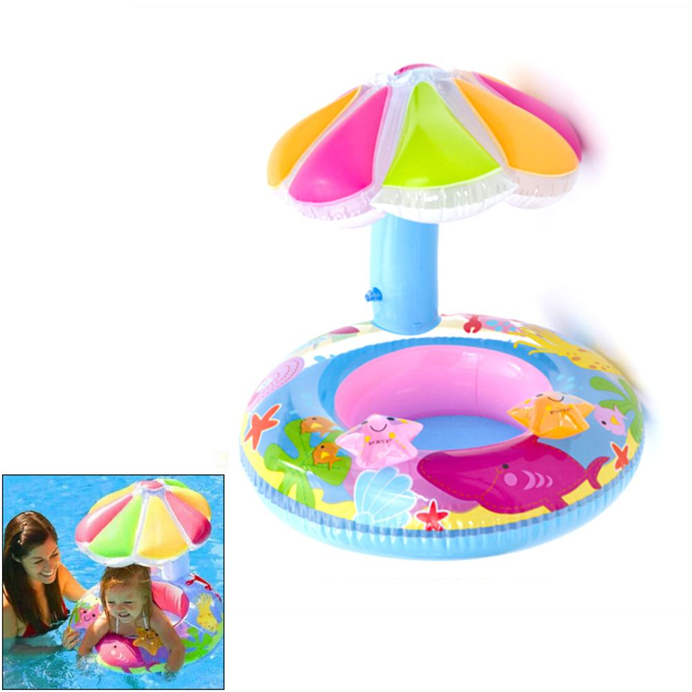 Baby Safety Inflatable Pool Float Toys For Kids Baby Swimming Ring Circle Beach Sea Toys Sunshade Seat W/Canopy