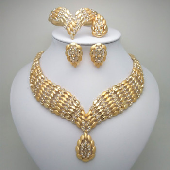 2019 Kingdom Ma Fashion African Dubai Gold Jewelry Women African Beads Set Nigerian Bridal Jewelry Sets Wedding Accessories beaqueen luxurious african cubic zirconia beads jewelry set nigerian wedding yellow bridal jewellery sets for women js091