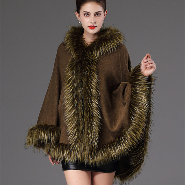 2018 Autumn Winter Women's knit Cape Shawl Coat Hooded Top Faux raccoon fur edge Cardigan Cloak Loose Female Sweaters OKXGNZ2057