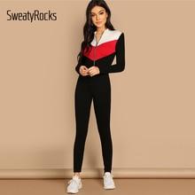 630046eeb1a4 SweatyRocks Zip Up Colorblock Unitard Jumpsuit Bodycon Women Activewear  Skinny Clothes 2019 New Casual Long Sleeve