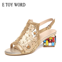 E TOY WORD 2019 Summer womens sandals Rhinestone Open Toe Sandals platform shoes High Heels Sandals Square Heeled Ladies Shoes