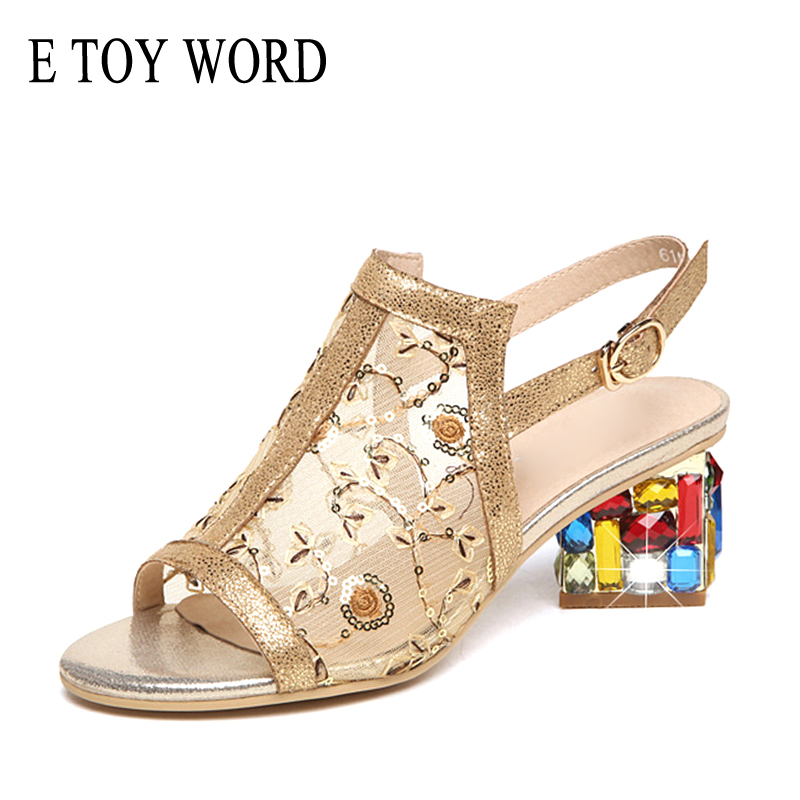 High Heels Latest Collection Of E Toy Word 2019 Summer Womens Sandals Rhinestone Gold Open Toe Sandals Mesh Womens High Heels Sandals Square Heeled Ladies Shoes Heels