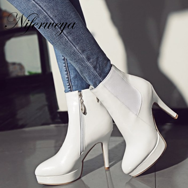 Fashion winter women short boots sexy Pointed Toe Platform high heel shoes big size 32-46 solid PU ladies zipper Ankle boots купить