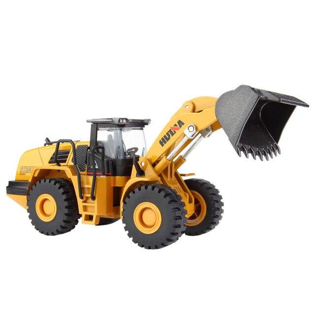 Huina Mainan 1:50 Mekanis Paduan Loader Kendaraan Rekayasa Excavator Mobil Kendaraan Model Diecast Anak Laki-laki Mainan Truk Hadiah Mainan Anak