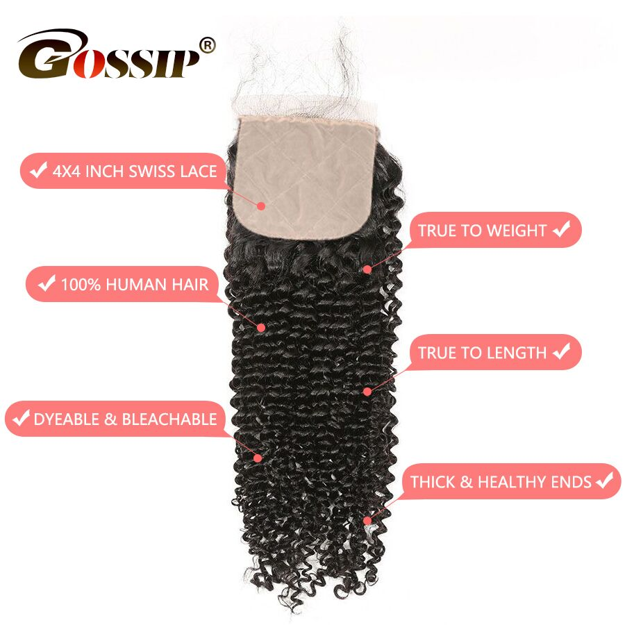 Image 4 - Kinky Curly Closure 4x4 Silk Base Closure With Baby Hair Human Hair Brazilian Closure Pre Plucked Gossip Remy Hair Extension-in Closures from Hair Extensions & Wigs