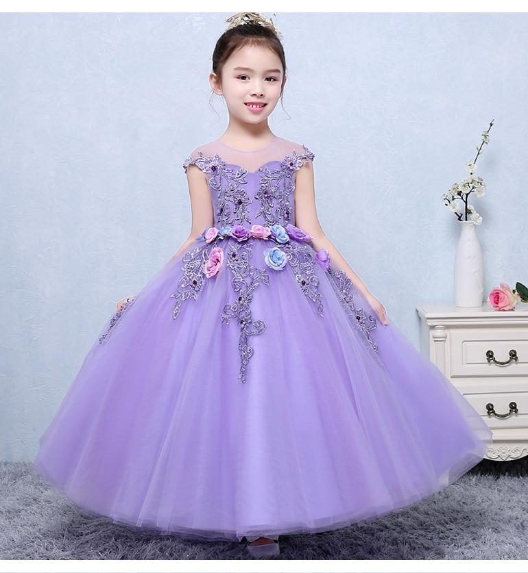 Retail Girl Wedding Dress 2017 Girls Fashion Purple Lace ...