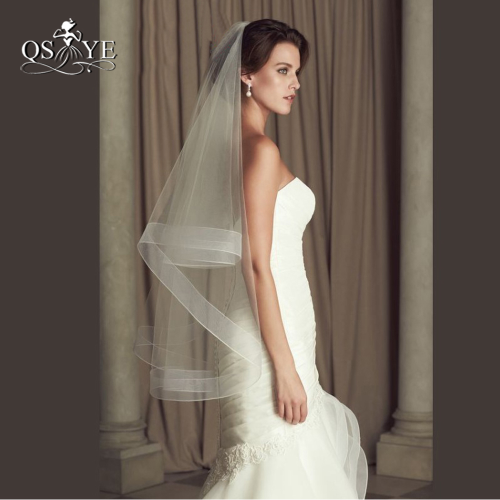 Wedding Accessories Ribbon Edge Fingertip Veil with 2 Horsehair Trim Fingertip Wedding Veil Bridal Veil Crinoline 2 Tier Veils