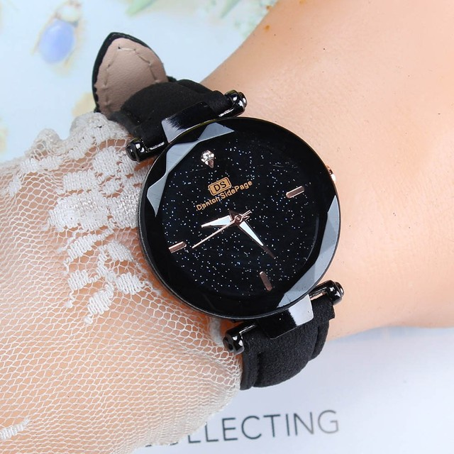 מעולה גבירותיי שעון כוכבים שמיים נשי עור קוורץ שעון יד אלגנטי נשים שעונים צמיד שעון Montre Femme 2018