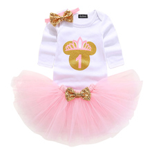 Baby Girls Long Sleeve Dress Tutu Tulle 1st 2nd Birthday Clothes Toddler Girls Clothes For Party Christening Baptism Clothing