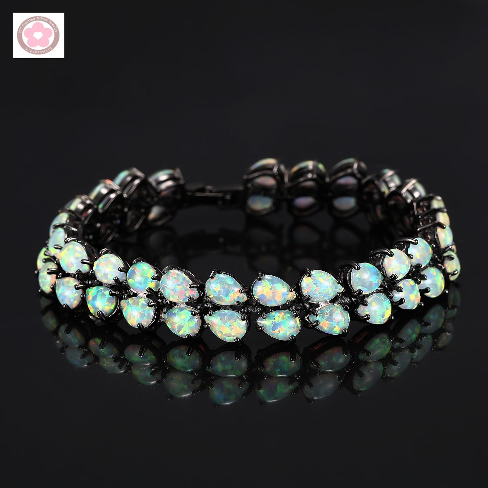 SZ0007 Hot Sale Black Gold Filled AAA Fire Opal Inlaid Fashion Bracelet For Women Jewelry Gift rhinestone opal flower bracelet for women