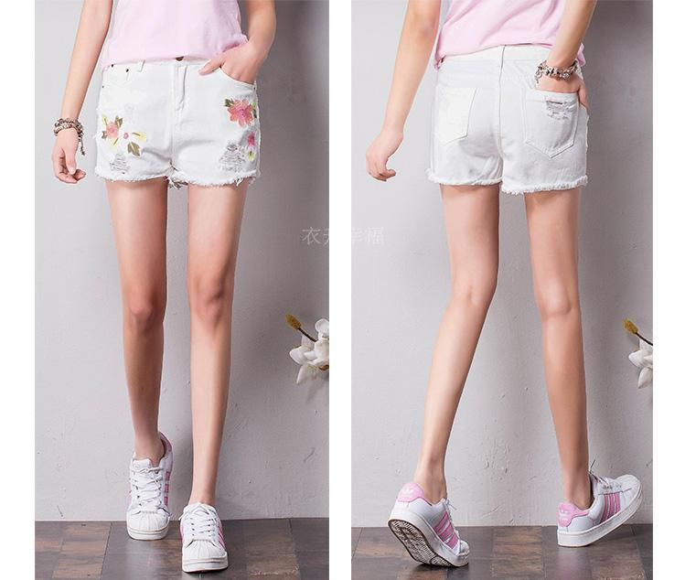 ФОТО Embroidery Denim Shorts In The Summer Of Female Thin Section Of Tall Waist Hole Embroidery Loose Edge Hot Pants Or Lend Students