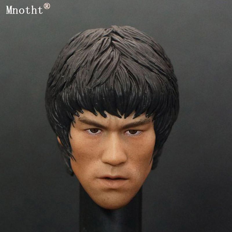 Mnotht 1/6 Soldier China Kung Fu Bruce Lee Head Carve Hot Toy Male head Sculpt doll model for 12 Action Figure body mnotht 1 6 action figure panzer third