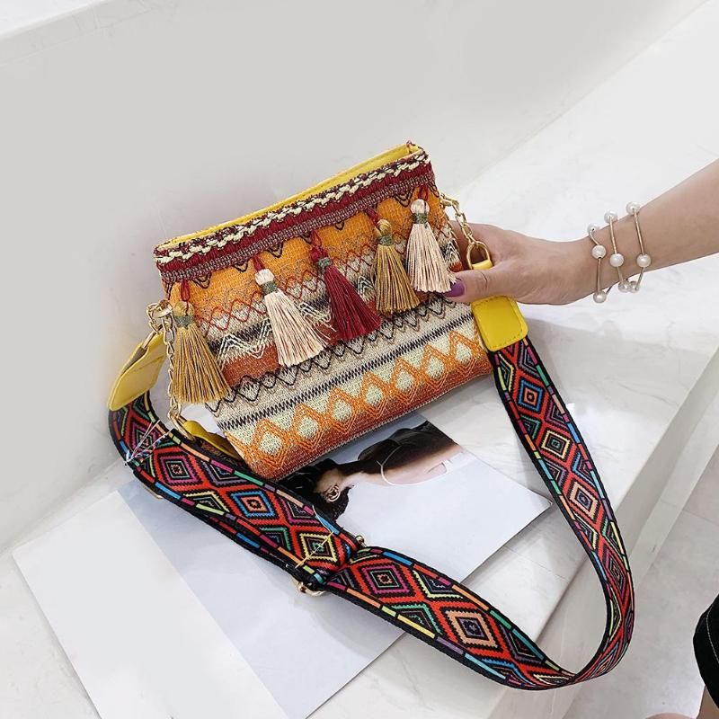 Ethnic Tassel Shoulder Bag For Women Fashion New Messenger Handbags Women's Casual Small Knitting Crossbody Bags Bolsas Feminina