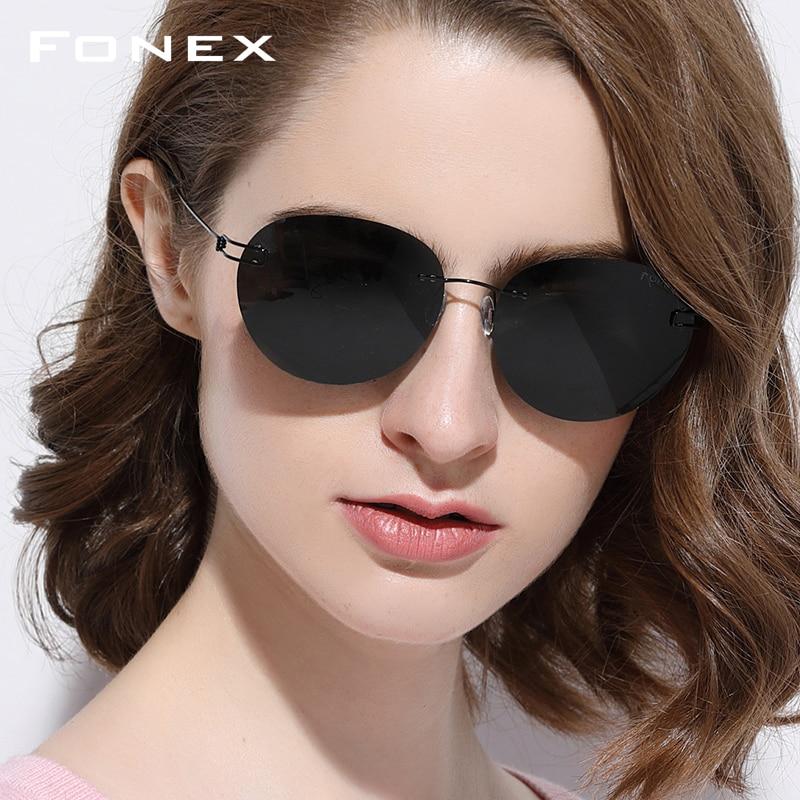 Rimless Sunglasses Men Titanium Alloy Korean Denmark Screwless Eyewear Round Frameless Polarized Sun Glasses for Women