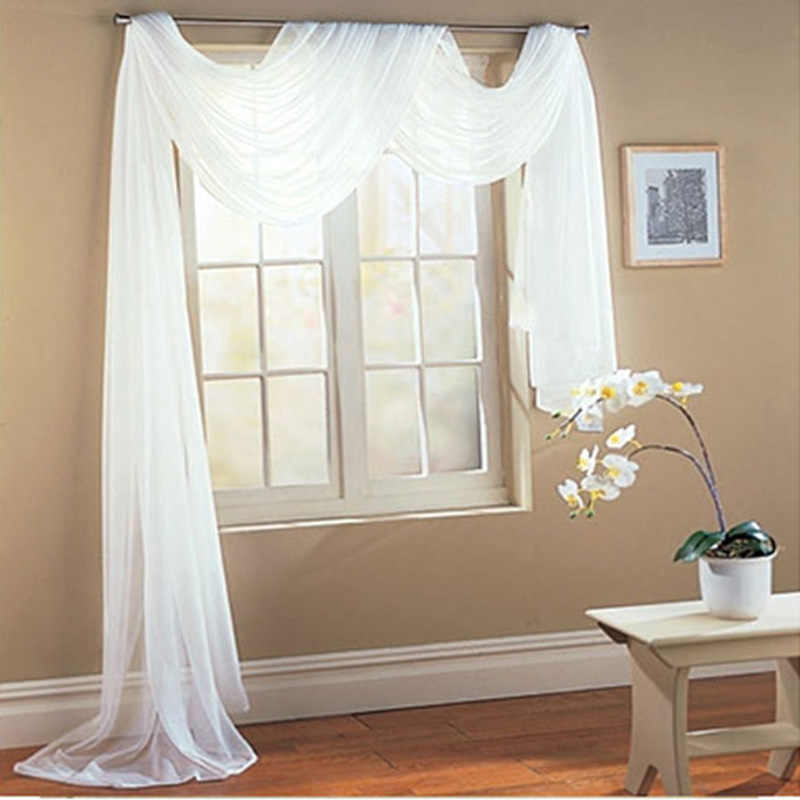 European Blind Panel Fabrics For Window White Sheer Curtains For Living Room Curtain Pelmet Valance Scarf Curtain Drape AP184#4
