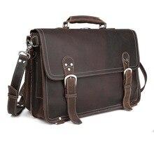 Handmade Men Wild Style Briefcase 100 Genuine Leather Laptop Handbag Leisure Vintage Style Bag 1059