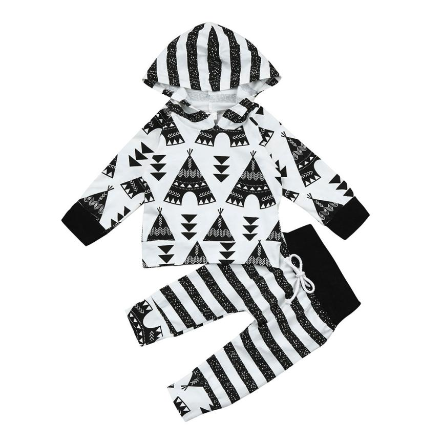 Cartoon Baby Boy Clothes Tent Print Baby Girl Clothing Sets bebe Hoodie Tops+Pants Outfits L1129