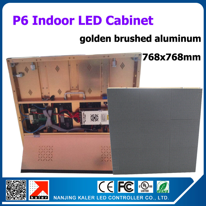TEEHO factory supply golden brushed aluminum cabinet p6 led display panel 768*768mm video led display sign with receiving cardTEEHO factory supply golden brushed aluminum cabinet p6 led display panel 768*768mm video led display sign with receiving card