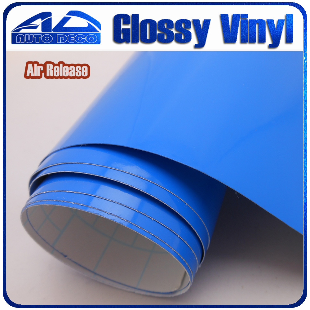 Deep Blue Glossy Vinyl Film Car Wrapping Stikcer with Air Bubble Free Vehicle Wrap Foil size 1.52x30m/Roll