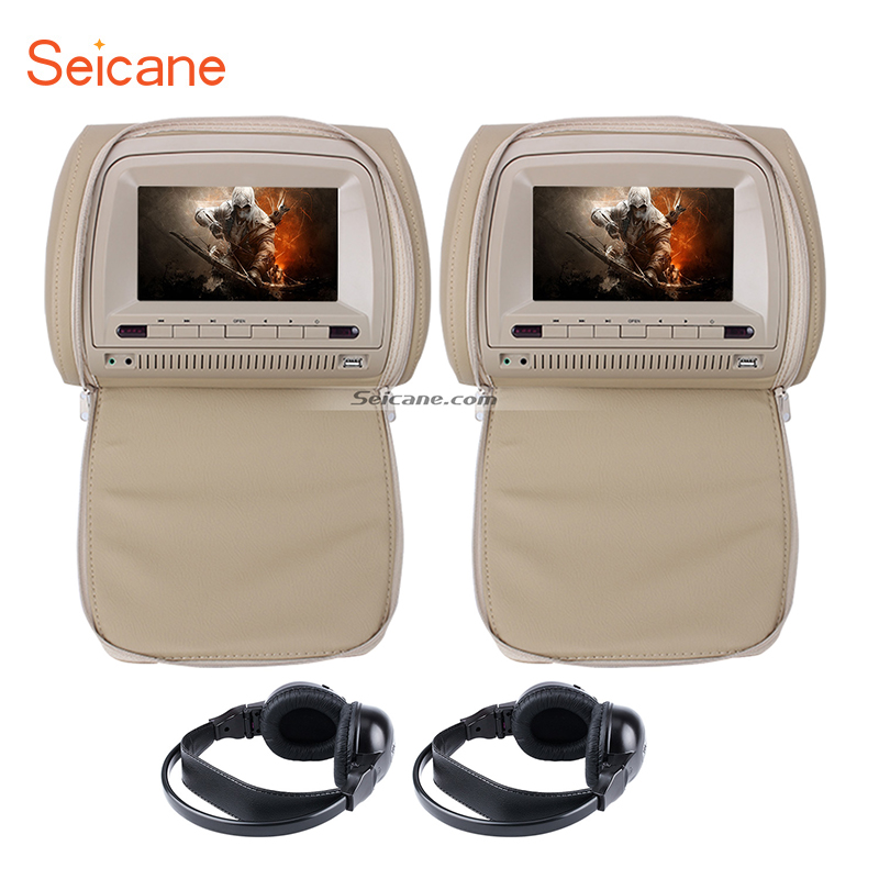 Seicane LCD screen Headrest DVD Player with FM Game Zipper Cover 1 and wireless infrared earphone 1 pair Beige
