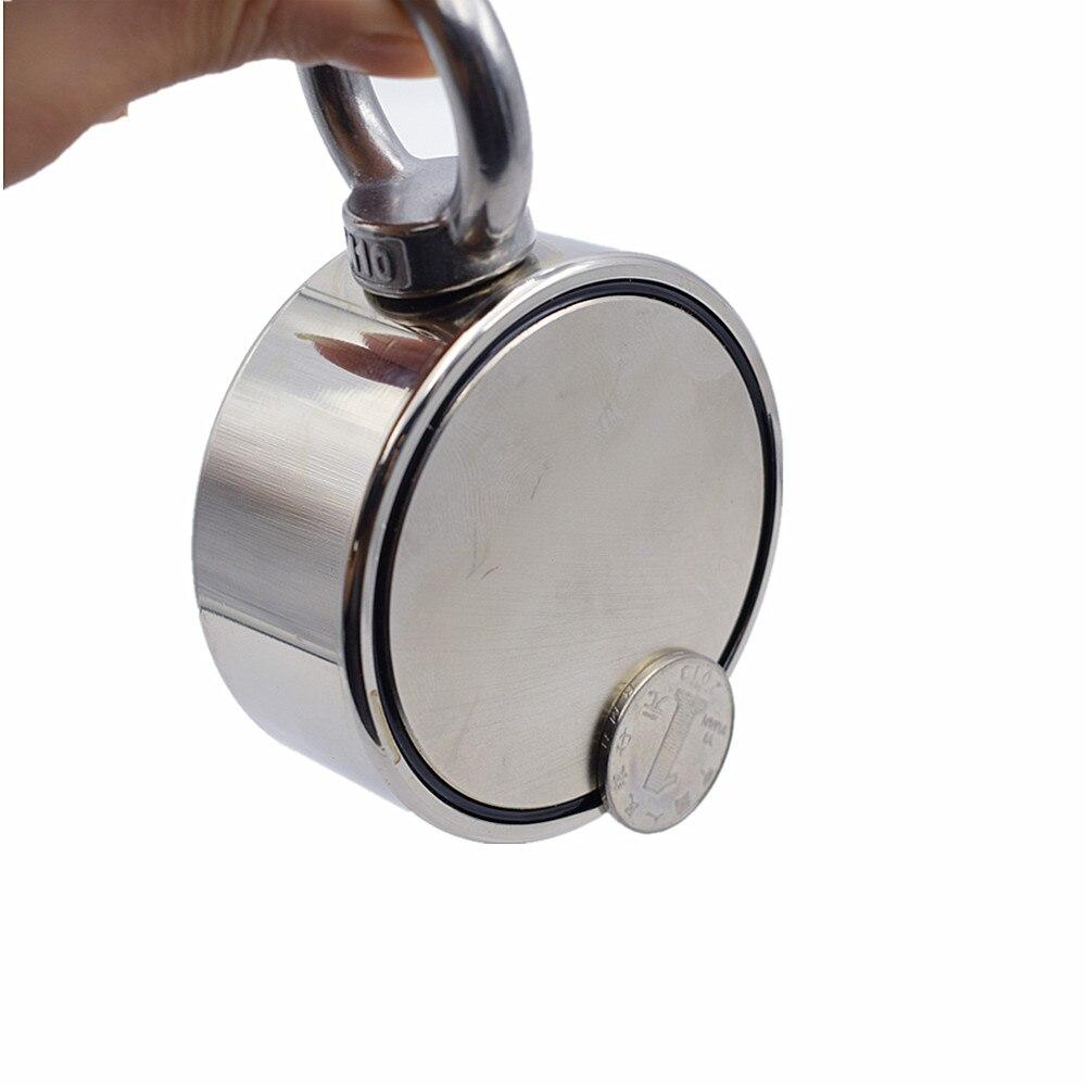 D75mm imán de neodimio súper poderoso agujero de doble cara salvar pesca imán 300 kg anillo Circular gancho permanente soporte de acero - 3