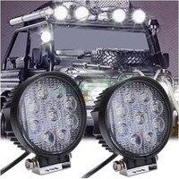 2pcs 4 Inch 27W 12V 24V LED Work Light Spot Flood Round LED Offroad Light Lamp