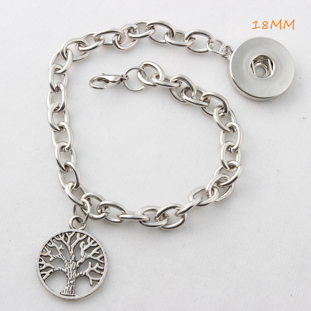 5Pcs DIY Silver Tree 18mm/12mm Snap Bracelets Fit Snap Button Charms Jewelry Bracelet For Women image