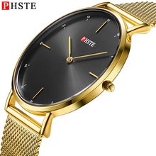 PHSTE Men Watch Gold Steel Mesh Ultra Thin Simple Japan Movt Quartz Wristwatch 3ATM Waterproof Male Slim Clock Relogio Masculino