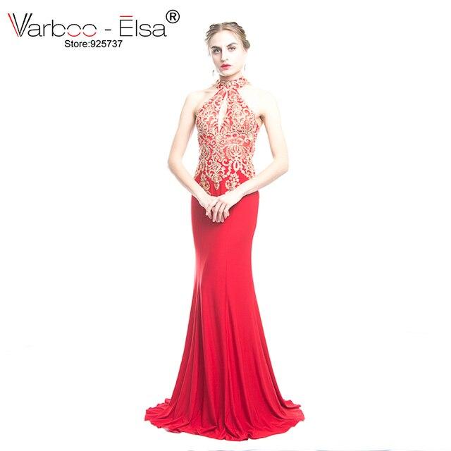 36e101174 VARBOO ELSA rojo atractivo Backless del cordón de la sirena Vestido de noche  largo Appliques vestidos de noche sirena Vestido de Festa