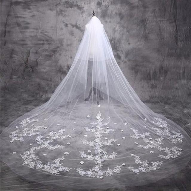 2016 White Ivory Wedding Veil Long Two-Layer Cut Edge Adult Bridal Veil With Appliquesvelos de novia Free Shipping custom made